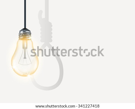 incandescent light bulb with hanging rope - stock vector