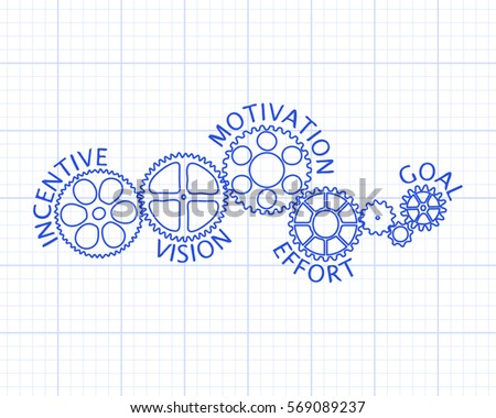 Incentive, motivation, vision, effort and goal on hand drawn gear wheels graph paper background