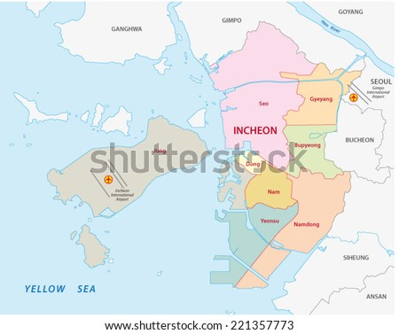 Incheon Administrative Map Stock Vector 221357773 Shutterstock
