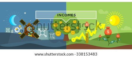 Incomes concept design style flat. Money, income tax, revenue and profit, salary, investment and tax, business finance, earning cash dollar, financial growth coin illustration