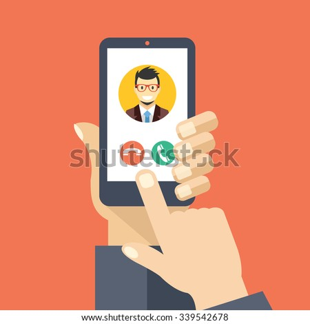 Incoming call on smartphone screen. Calling service. Hand holds smartphone, finger touch screen. Modern concept for web banners, web sites, infographics. Creative flat design vector illustration - stock vector