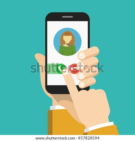 Incoming call on smartphone screen. Flat vector illustration.
