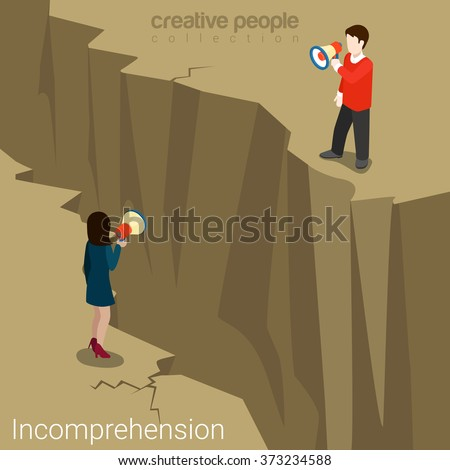 Incomprehension couple man woman talking megaphone loudspeaker opposite sides abyss chasm. Flat web site vector illustration. Misunderstanding conflict opposition business concept. - stock vector