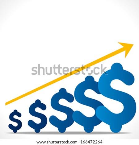 increase growth graph concept , or increase dollar graph background vector - stock vector
