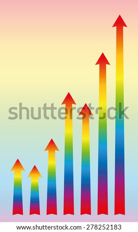 Increase or growth diagram with rainbow colored rising arrows. Vector illustration.