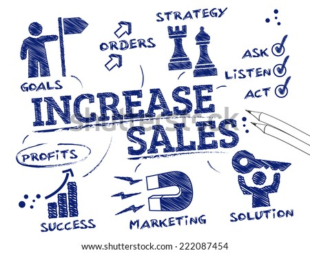 Increase sales. Chart with keywords and icons - stock vector