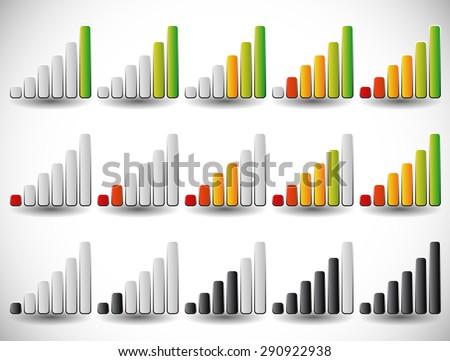 increasing bars as level or progress indicators, signal strength, completion indicators. vertical version - stock vector