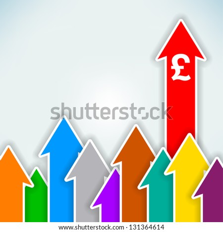 Increasing currency abstract vector arrows background