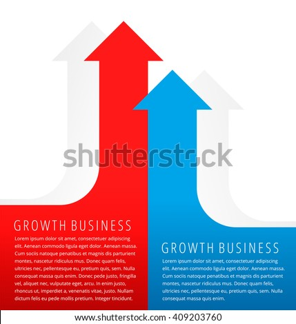 Increasing graphs concept. Red and blue arrows represent growth business and process. Flat infographic element for document, article, presentation, background for web, print, publish, social networks. - stock vector