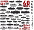 Incredible city skyline set. 40 city silhouettes of United States of America - stock photo