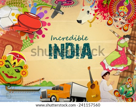 Incredible India, a glance of Indian religion culture with modern transportation on grungy background, can be used as poster or banner design. - stock vector