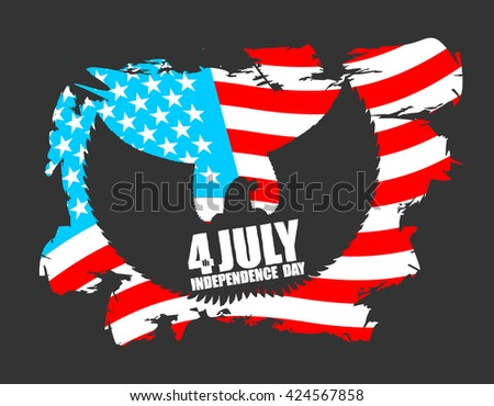 Independence Day America. Symbol of countrys eagle with wings and USA flag in grunge style. American National Patriotic July 4th holiday. emblem of elebration of United States Government - stock vector