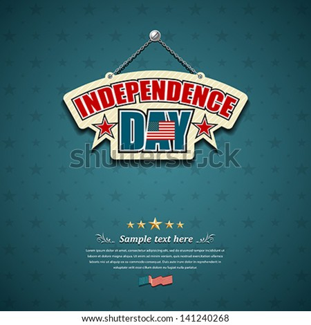 Independence day American signs hanging with chain, star background, vector illustration - stock vector