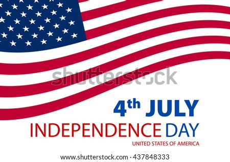 Independence day American signs hanging with chain, vector illustration art