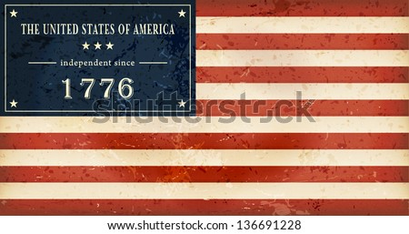 Independence Day background where in the flag of the USA the star field is replaced by the wording: The United States of America independent since 1776. - stock vector