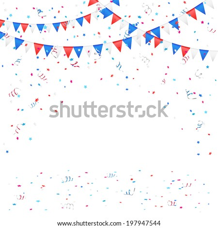 Independence day background with colored flags and confetti, illustration. - stock vector