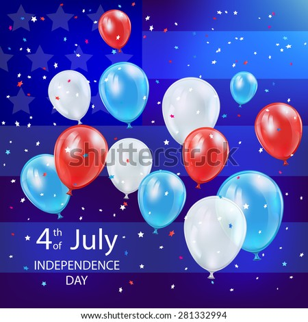 Independence day background with colorful balloons, confetti and American flag, illustration.