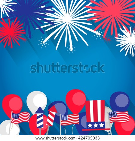 Independence day stock images royalty free images vectors independence day background with fireworks american flags balloons uncle sam hat can spiritdancerdesigns Gallery