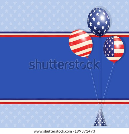Independence Day background with USA Balloons on a Star Filled Background with Red, White and Blue Stripes