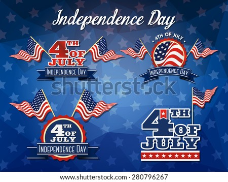Independence Day Badge Collection, Flag decoration logo design, 4th of July badge logo