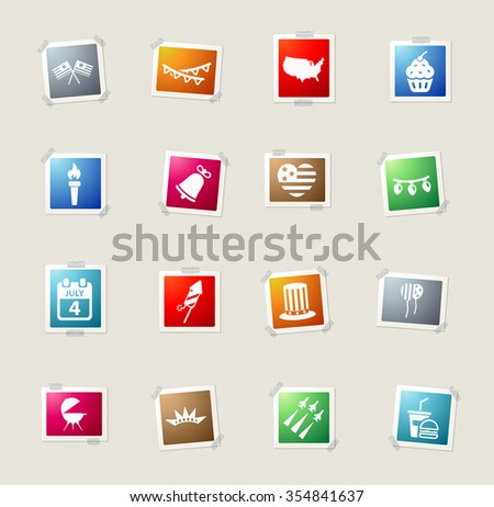 Independence day card icons for web