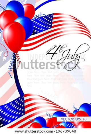 Independence day card - layout template - eps10 vector background - stock vector