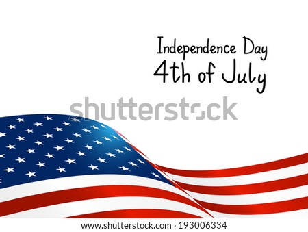 Independence Day card with American flag - stock vector