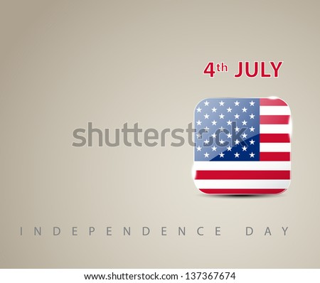 Independence day card with square glossy flag - stock vector