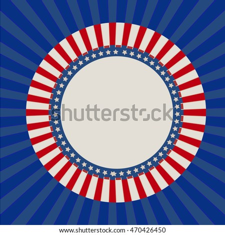 Independence day circle background with lines and stars