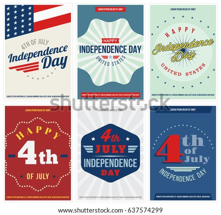 independence day 6 colored posters set fourth of july united states independence day flyers or