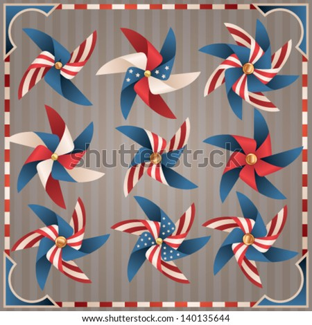 Independence Day design elements collection. Vector windmill set - stock vector