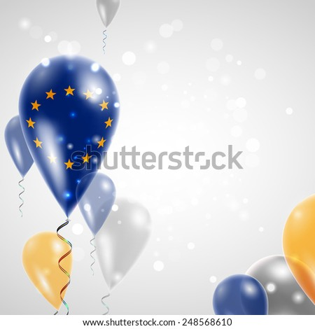 Independence Day. European Union flag on air balloon. Celebration and gifts. Balloons on the feast of the national day.  Use for brochures, printed materials, signs, elements - stock vector