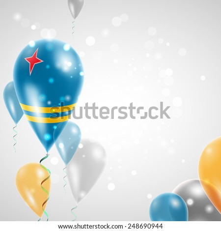 Independence Day. Flag of Aruba on air balloon. Celebration and gifts. Balloons on the feast of the national day.  Use for brochures, printed materials, signs, elements - stock vector
