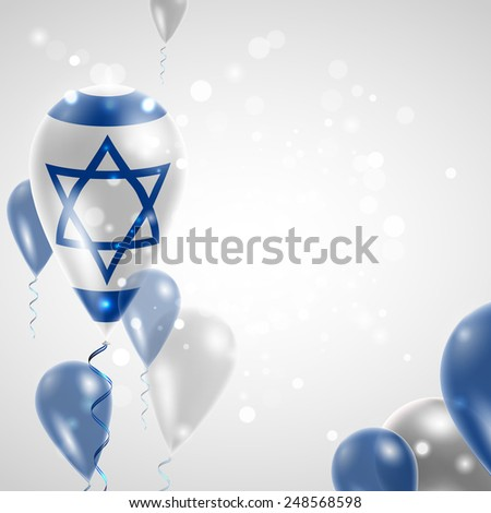 Independence Day. Flag of Israel on air balloon. Celebration and gifts. Balloons on the feast of the national day.  Use for brochures, printed materials, signs, elements - stock vector