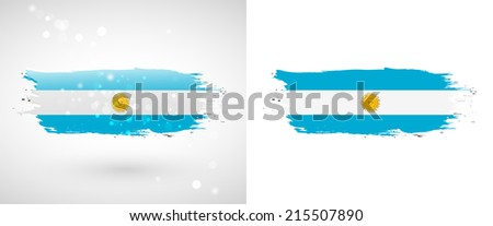 Independence Day. Flag painted with a brush with paint. Grungy flag. Grungy style. Brushstroke. Use for brochures, printed materials, icons, logos, signs,  elements, etc. Flag of Argentina - stock vector