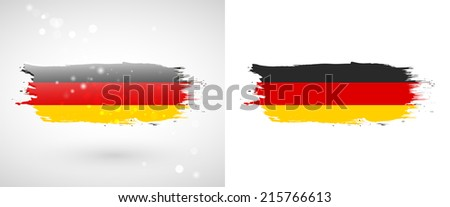 Independence Day. Flag painted with a brush with paint. Grungy flag. Grungy style. Brushstroke. Use for brochures, printed materials, icons, logos, signs,  elements, etc. Flag of Germany