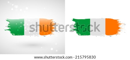 Independence Day. Flag painted with a brush with paint. Grungy flag. Grungy style. Brushstroke. Use for brochures, printed materials, icons, logos, signs,  elements, etc. Flag of Ireland