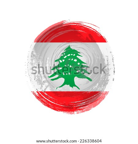 Independence Day. Flag painted with a brush with paint. Grungy flag. Grungy style. Brushstroke. Use for brochures, printed materials, icons, logos, signs,  elements, etc. Flag of Lebanon - stock vector