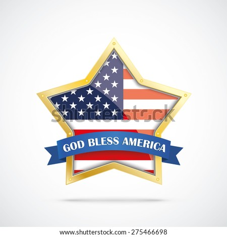 Independence day golden star with US-flag on the white background. Eps 10 vector file. - stock vector