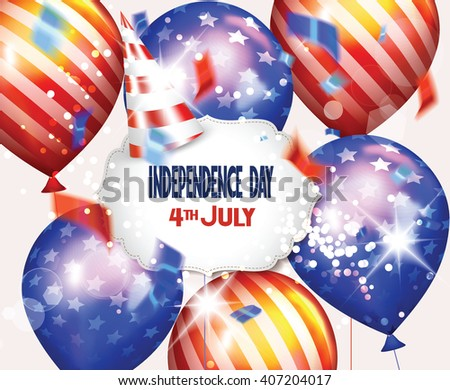 Independence Day greeting card with American Flag colored air balloons