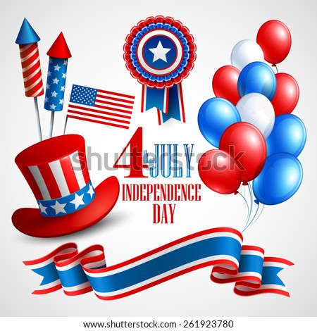 Independence Day holiday symbols. Vector illustration EPS 10 - stock vector