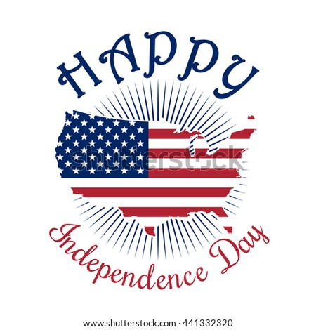Independence Day Icon Happy Independence Day Of America 4th Of July Map Of