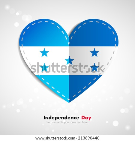 Independence Day. Love of country. Flag in the form of a paper heart. Use for brochures, printed materials, icons, logos, signs,  elements, etc. Flag of Honduras - stock vector