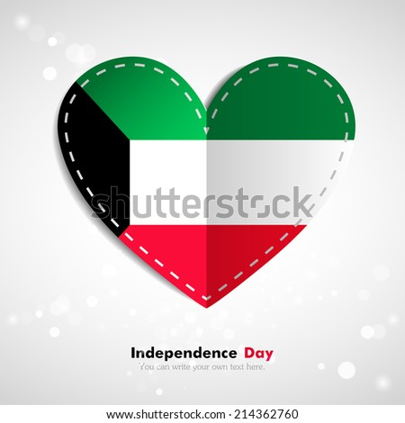 Independence Day. Love of country. Flag in the form of a paper heart. Use for brochures, printed materials, icons, logos, signs,  elements, etc. Flag of Kuwait - stock vector