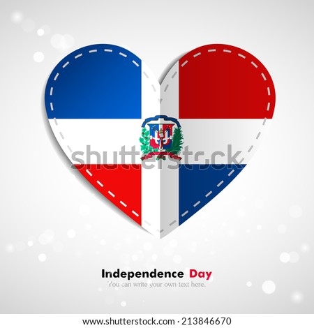 Independence Day. Love of country. In the form of a paper heart. Use for brochures, printed materials, logos, signs,  elements, etc. Stock vector. National. Image. Picture.  Flag of Dominican Republic