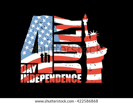 Independence Day of America. Statue of Liberty and USA flag in grunge style. Brush stroke. National public holiday in United States. Logo for patriotic celebration - stock vector