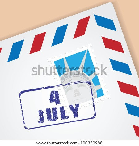 Independence Day - 4 of July. Congratulation letter with American postage stamp. - stock vector