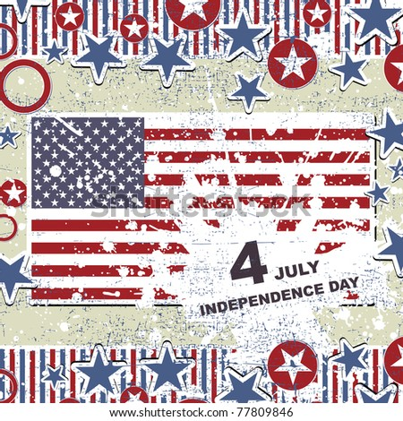 Independence Day- 4 of July - Retro grunge background - stock vector