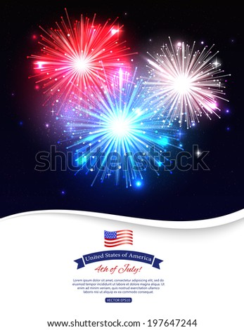 Independence day of the USA typographical background. Shining fireworks and place for text. - stock vector