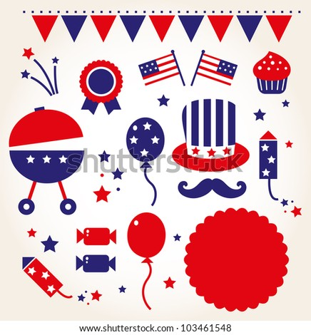 Independence day retro icons ( vector ) - stock vector